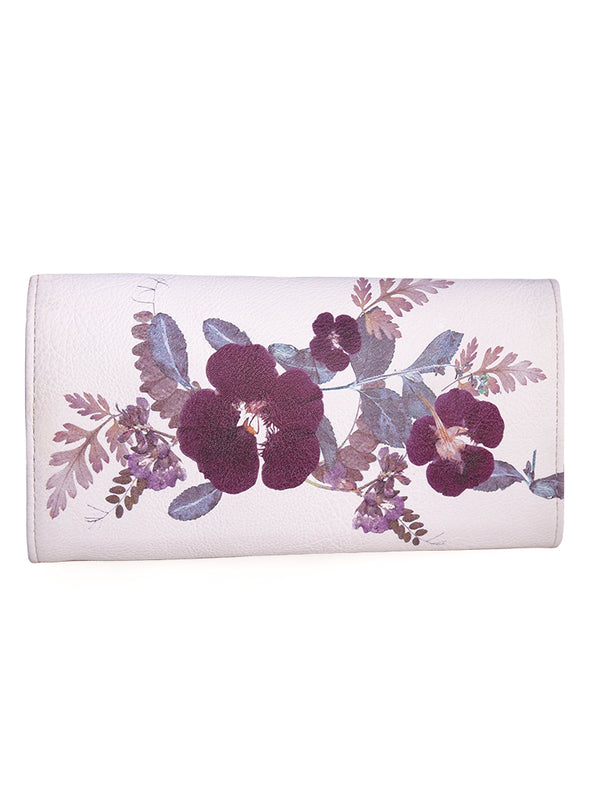 Trifold Wallet, Plum Leaves