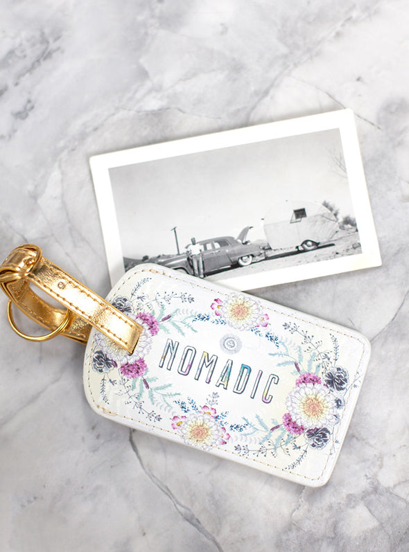 sunrise wreath luggage tag styled photo