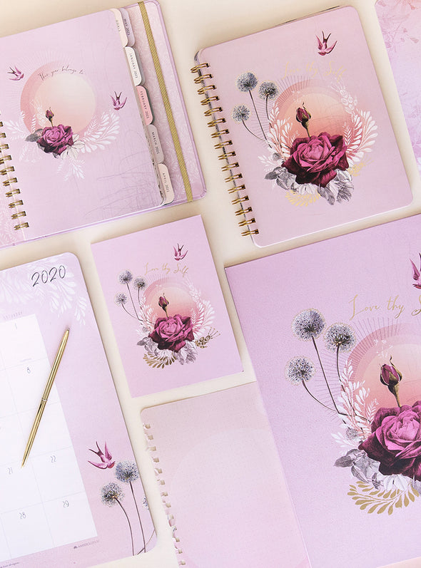 lavender rose stationery on table