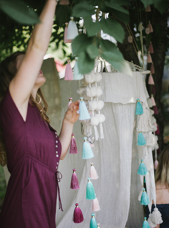 Tassel Tier Drop, Ombre Sea Spray (Vertically Hanging)