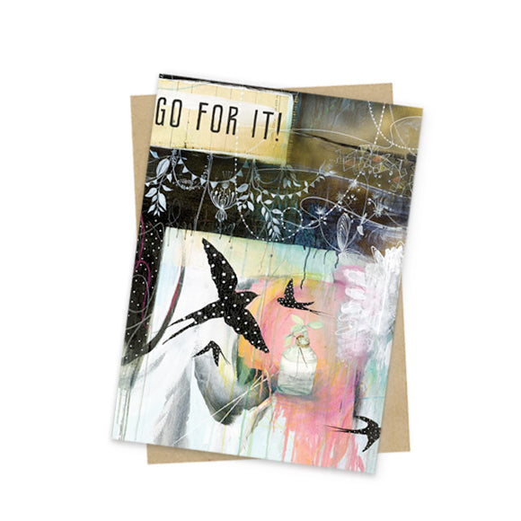 go for it mini greeting card front