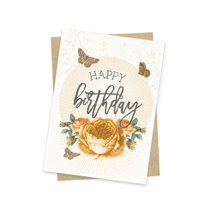 Mini Card, Yellow Birthday Roses