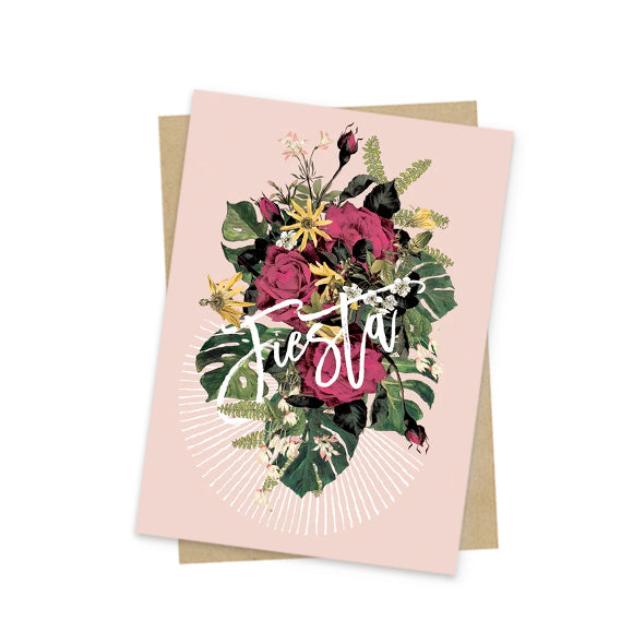 floral fiesta mini greeting card front