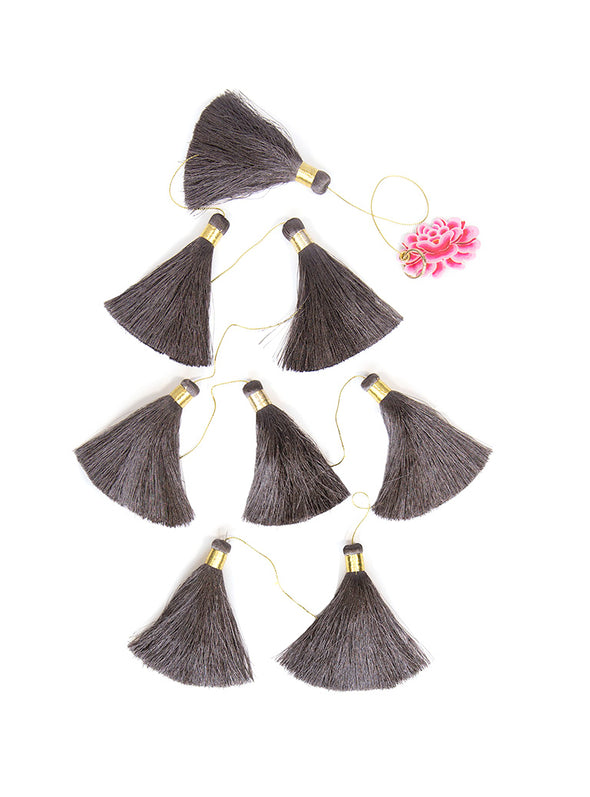 Tassel Tier Drop, Charcoal (Vertically Hanging)