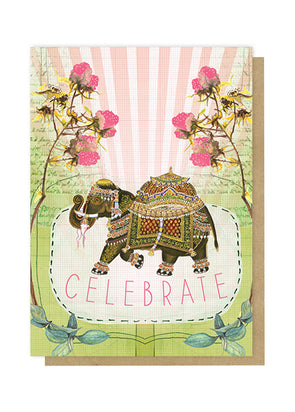 fancy elephant greeting card front
