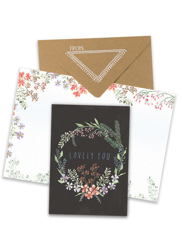 lovely you greeting card collage on white