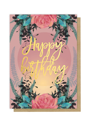 happy birthday rose greeting card front