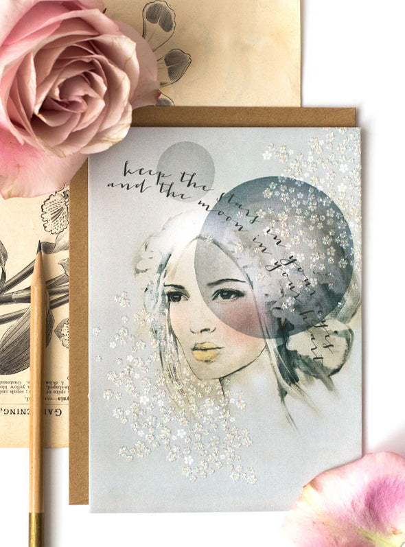 starry eyes greeting card styled