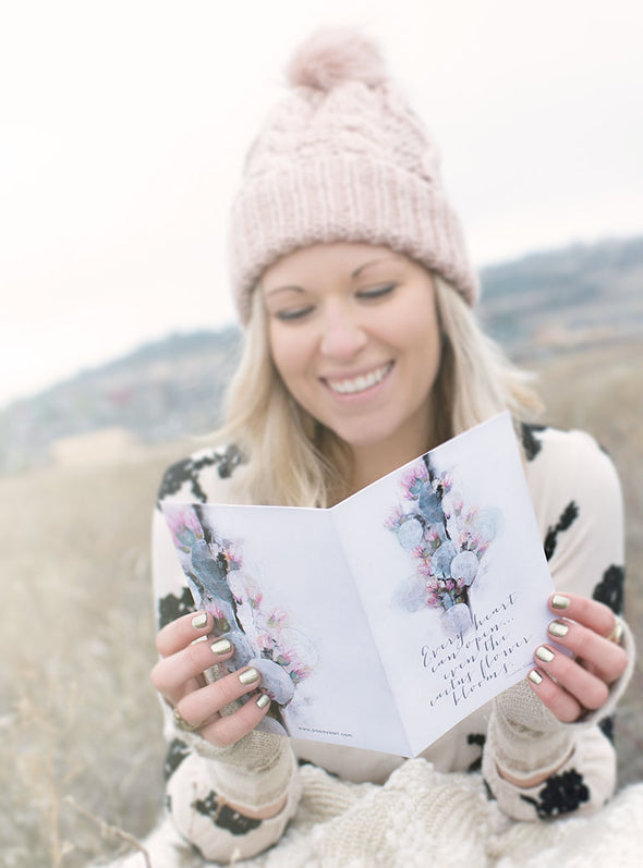 cactus flower greeting card lifestyle with model