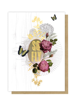 So fly greeting card front