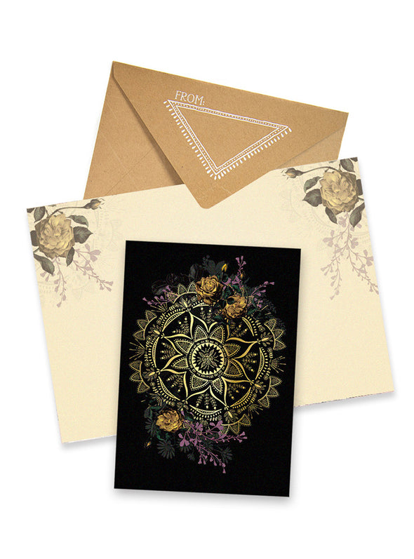 golden mandala greeting card collage