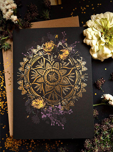 golden mandala greeting card styled