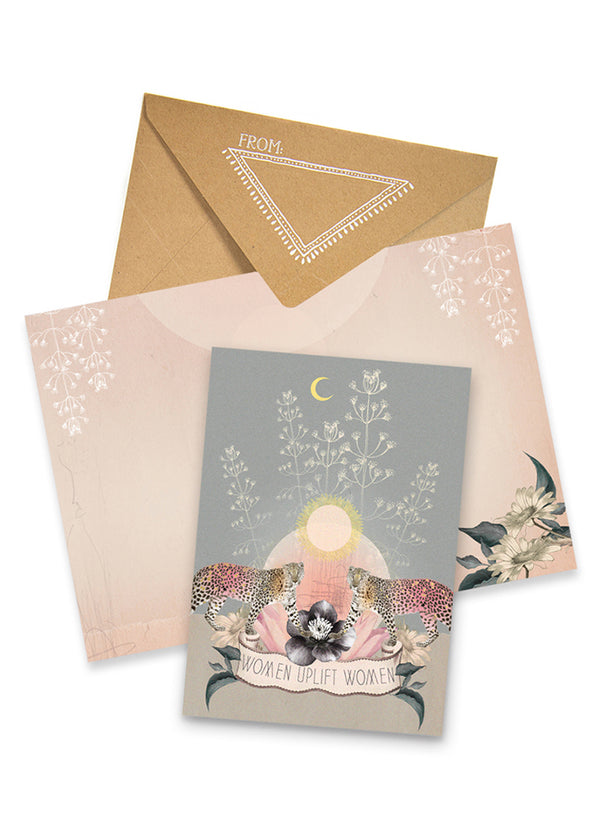 Twin Leopard Greeting Card with envelope