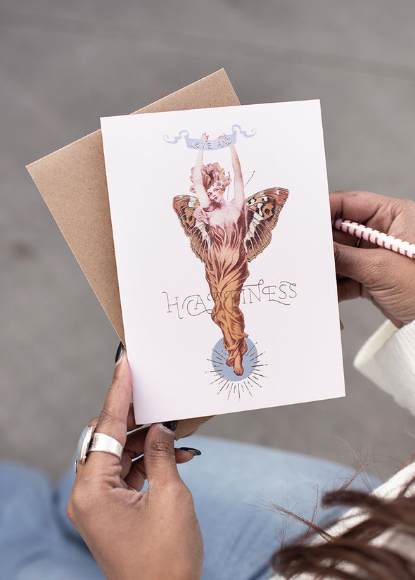 woman holding butterfly woman greeting card