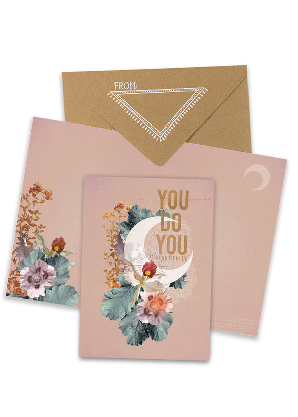 crescent greeting card with envelope