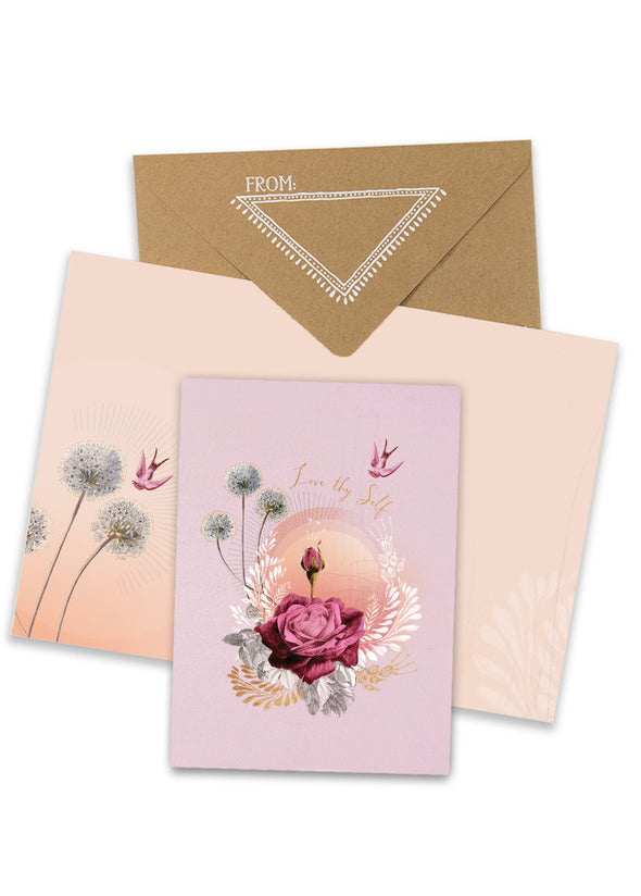 lavender rose greeting card with envelope