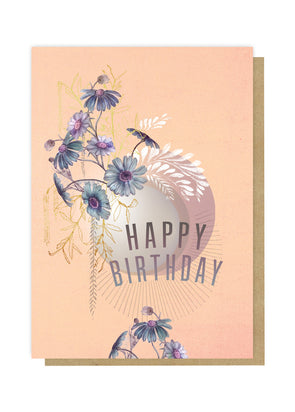 Blue Cosmos Happy Birthday Greeting Card