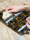Trifold Wallet, Black Gilded Flower