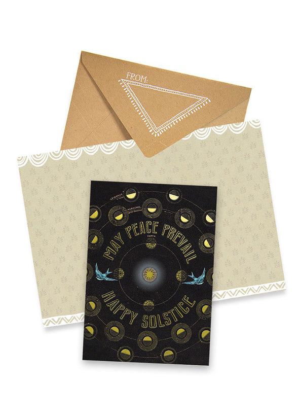 Happy Solstice Foil Holiday Card with envelope
