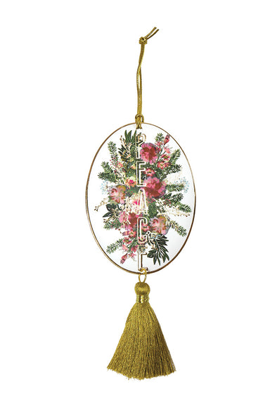 Holiday Ornament, Floral Gold Peace
