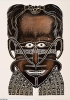Alick Tipoti 'Sorcerer Mask with Cassowary Feathers'