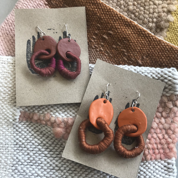 Shawnee Made & Found  'Circular Polymer and Fibre' earrings with bespoke silver hooks