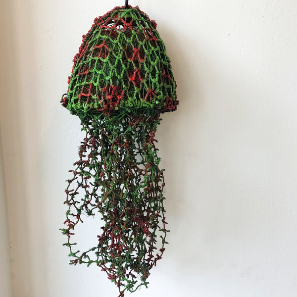 Sarah Joe (Pormpuraaw) 'Red & Green Jellyfish' Ghost Net Sculpture
