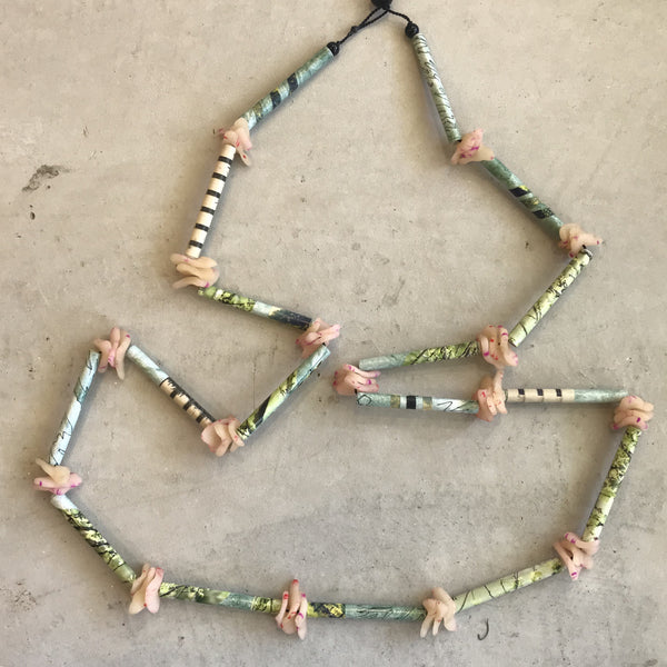Elaine  Godden 'Green and Pink' Beaded Necklace