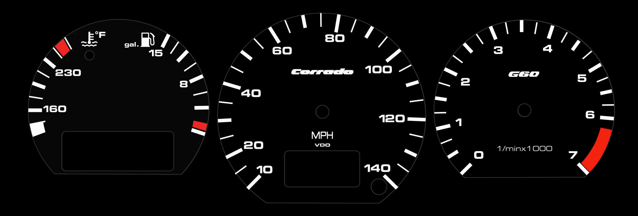 Corrado Illuminated Gauge Face Set G60/VR6