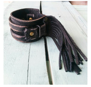 Black distressed western cuff with fringe