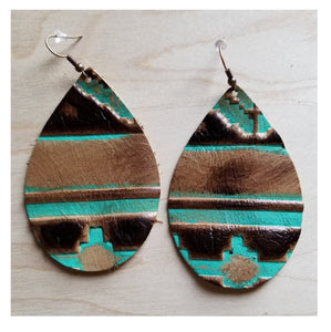 Leather tear drop earrings in navajo