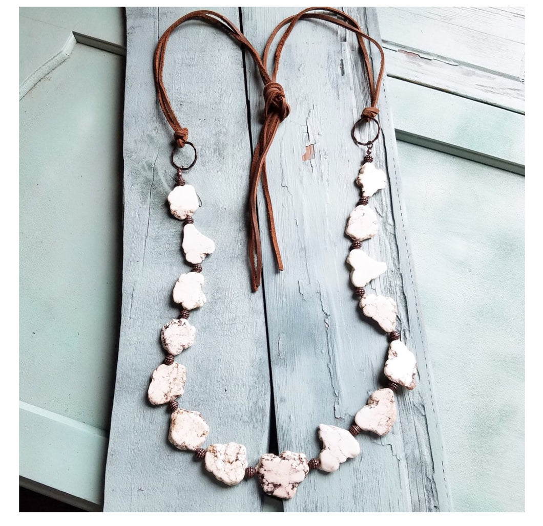 White turquoise slab necklace