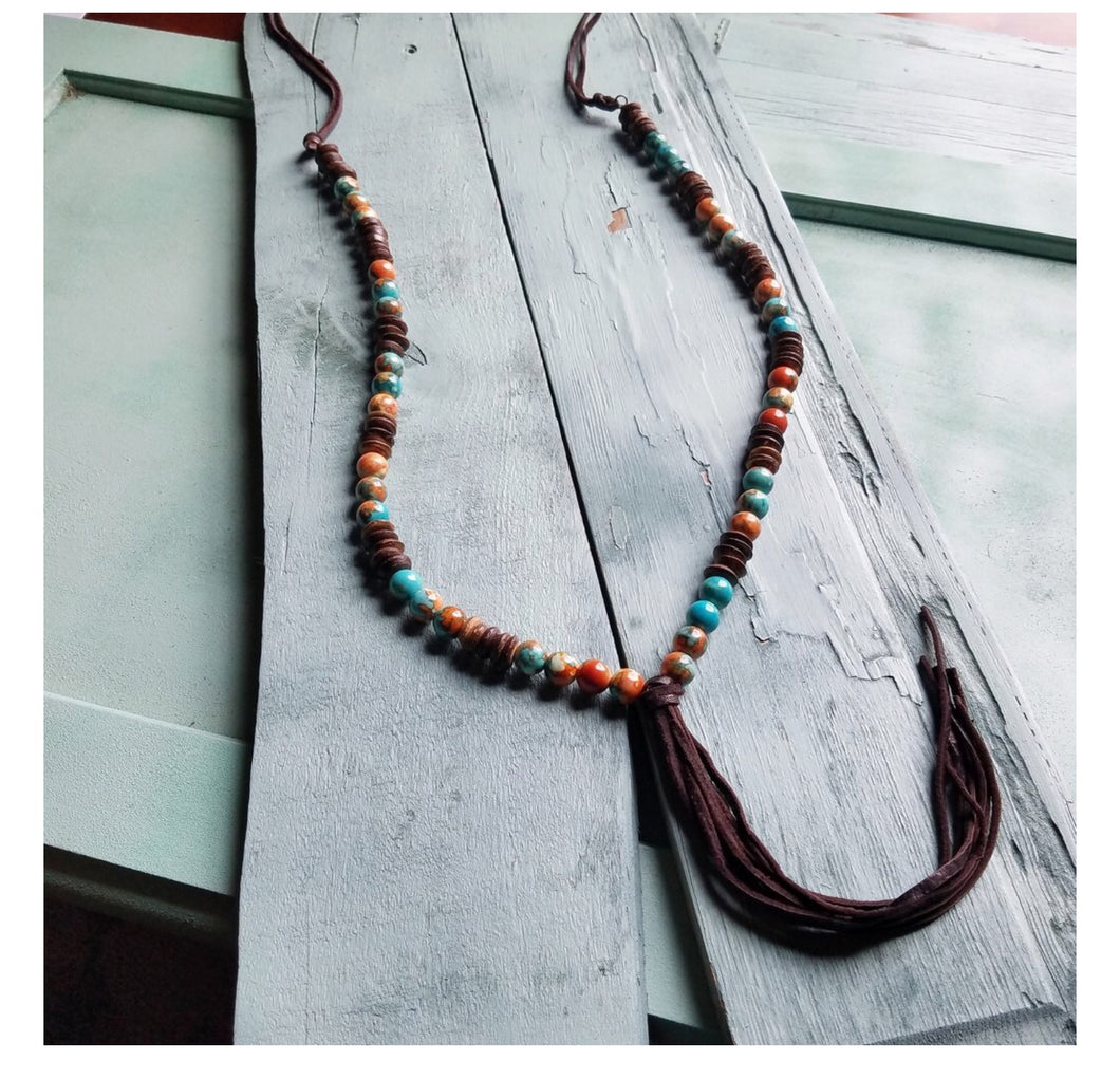 Multi-colored turquoise necklace with Heishi wood beads