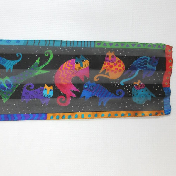 Laurel Burch Designer CATS 100% Silk Scarf Long Vintage ScarvesiLove 006s37