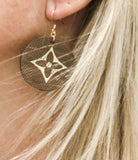 Upcycled From LV Handbag Logo Faux Leather Dangle Earrings - Hmmngbrds38