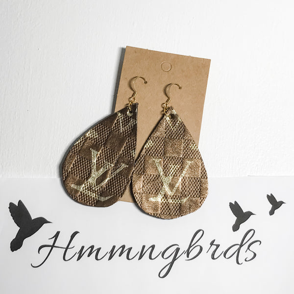 Upcycled From LV Handbag Logo Faux Leather Teardrop Dangle Earrings - Hmmngbrds40