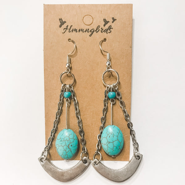 Upcycled Geometric Turquoise Silver Dangle Earring - Hmmngbrds23