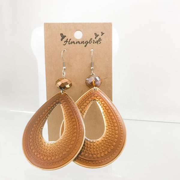 Upcycled Copper Teardrop Glass Crystal Bead Dangle Earrings - Hmmngbrds58