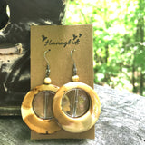 Upcycled Natural Wood Look & Clear Round Dangle Earrings - Hmmngbrds28