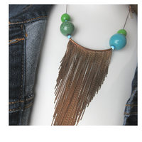 Upcycled Painted Clay Beads Chain Fringe Necklace - hmmngbrds07