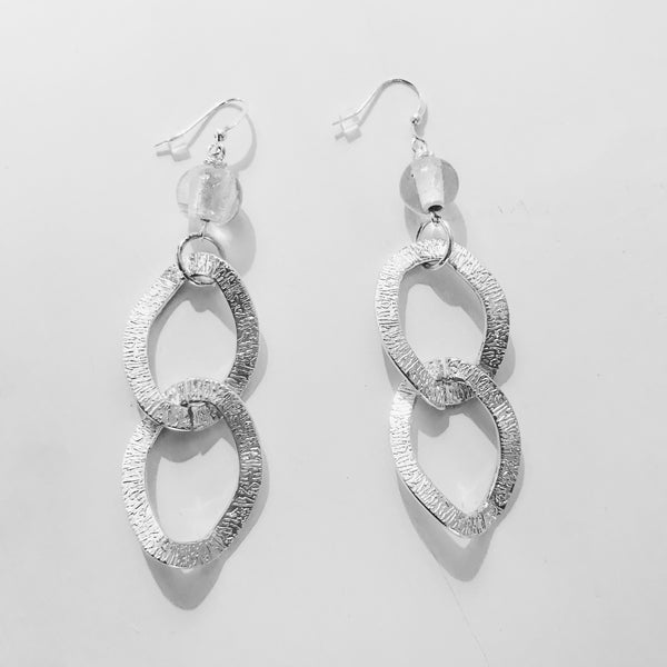 Upcycled Silver Chain Link Dangle Earring - Hmmngbrds24