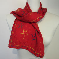 RED Stars Celebration Design 100% Silk Scarf Vintage Long ScarvesiLove m07