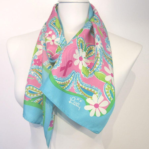 Ford Lilly Pulitzer Cancer Awareness Silk Scarf Vintage Long ScarvevesiLove m03