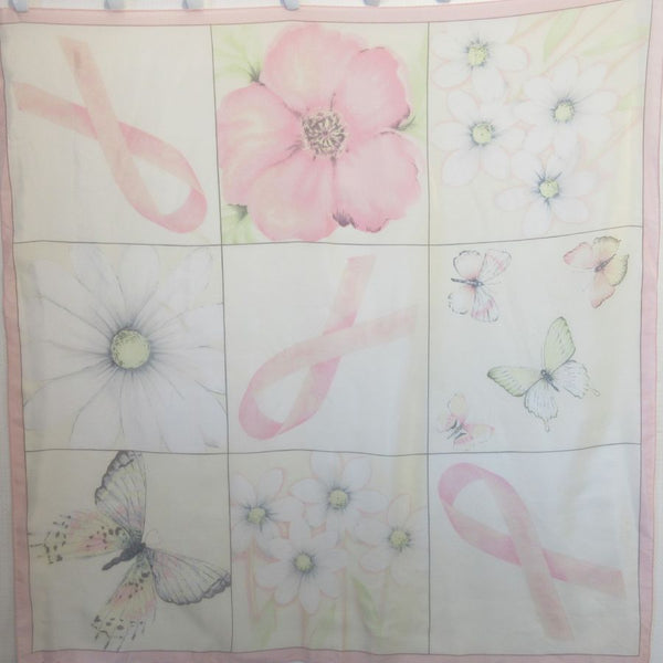 Pink Ribbon Floral Butterfly Design Silk Scarf Square Vintage ScarvesiLove m12