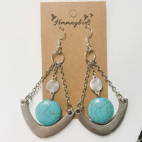 Upcycled Geometric Turquoise Silver Dangle Earring - Hmmngbrds22