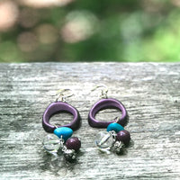 Upcycled Funky Purple Turquoise Clear Bead Dangle Earrings - Hmmngbrds45