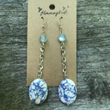 Upcycled Blue Polished Stone Silver Chain Dangle Earrings - Hmmngbrds29
