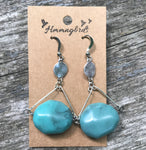Upcycled Geometric Vintage Turquoise Silver Dangle Earring - Hmmngbrds21