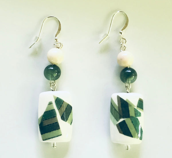 Upcycled Green Clay & Glass Natural Dangle Earrings - Hmmngbrds17