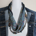 Upcycled Leather Wood Beads Bandana Silk Scarf Necklace EcoChic Hmmngbrds57